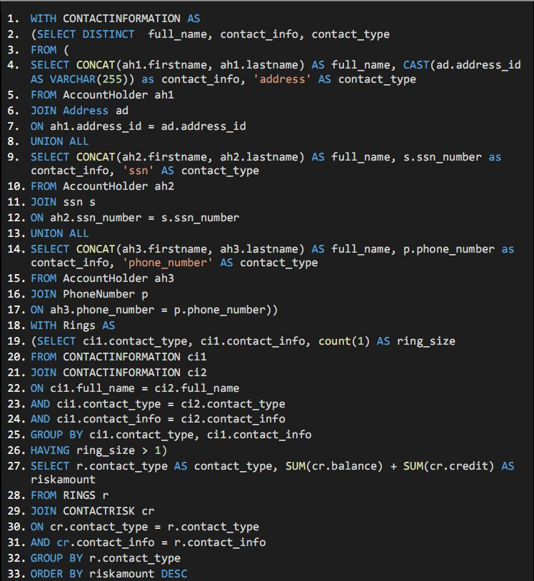 Without timbr: 33 lines of SQL